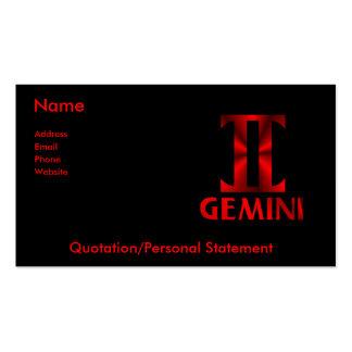 Símbolo rojo del horóscopo de los géminis tarjeta de negocio