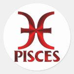 Símbolo rojo del horóscopo de Piscis Etiqueta Redonda
