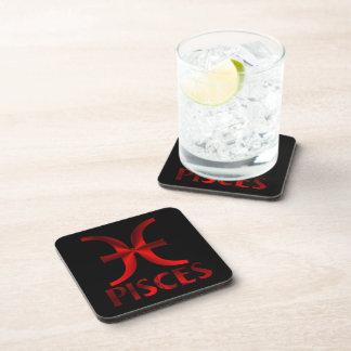 Símbolo rojo del horóscopo de Piscis Posavasos De Bebidas