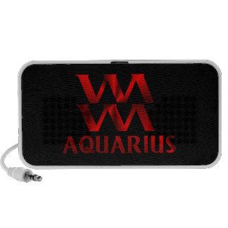 Símbolo rojo del horóscopo del acuario altavoz de viajar