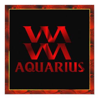 """Símbolo rojo del horóscopo del acuario invitación 5.25"""" x 5.25"""""""