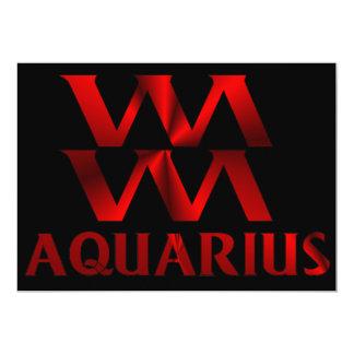 """Símbolo rojo del horóscopo del acuario invitación 5"""" x 7"""""""