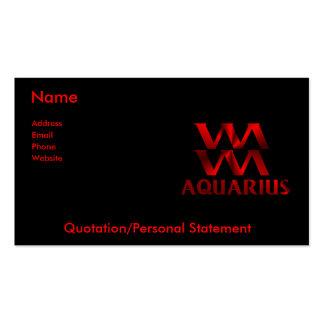 Símbolo rojo del horóscopo del acuario tarjetas de visita