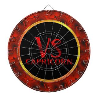 Símbolo rojo del horóscopo del Capricornio Tablero Dardos