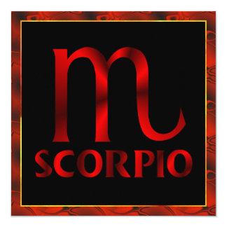 """Símbolo rojo del horóscopo del escorpión invitación 5.25"""" x 5.25"""""""
