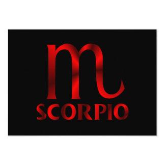 """Símbolo rojo del horóscopo del escorpión invitación 5"""" x 7"""""""