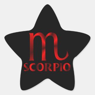 Símbolo rojo del horóscopo del escorpión pegatina en forma de estrella