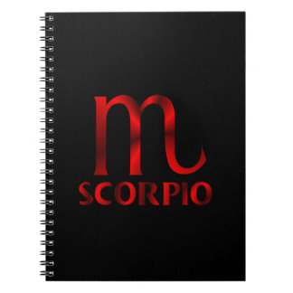 Símbolo rojo del horóscopo del escorpión spiral notebook