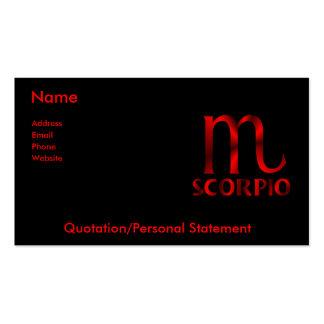 Símbolo rojo del horóscopo del escorpión tarjeta de visita