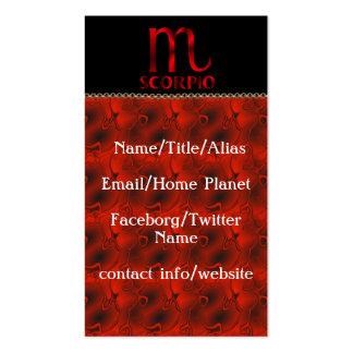 Símbolo rojo del horóscopo del escorpión tarjetas de visita