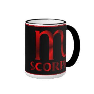 Símbolo rojo del horóscopo del escorpión taza de dos colores