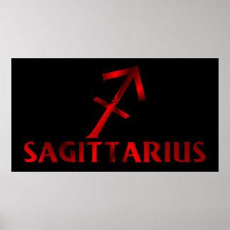 Símbolo rojo del horóscopo del sagitario póster