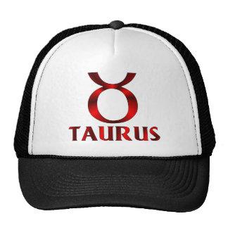 Símbolo rojo del horóscopo del tauro gorros bordados