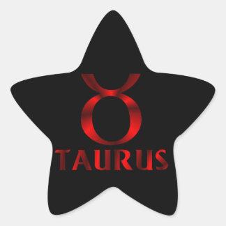 Símbolo rojo del horóscopo del tauro pegatina en forma de estrella