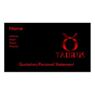 Símbolo rojo del horóscopo del tauro plantilla de tarjeta de negocio