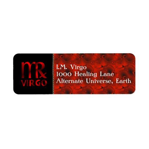 Símbolo rojo del horóscopo del virgo etiquetas de remite