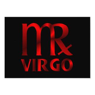 """Símbolo rojo del horóscopo del virgo invitación 5"""" x 7"""""""