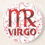 Símbolo rojo del horóscopo del virgo posavasos cerveza
