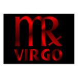 Símbolo rojo del horóscopo del virgo tarjetas de visita grandes
