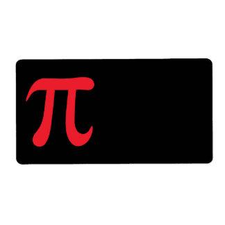 Símbolo rojo del pi en fondo negro etiquetas de envío