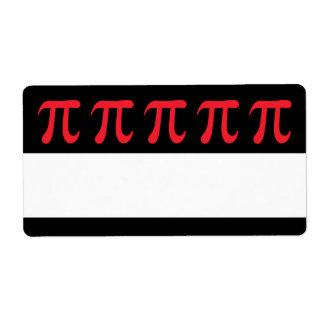 Símbolo rojo del pi en fondo negro etiqueta de envío