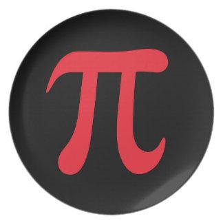 Símbolo rojo del pi en fondo negro plato para fiesta