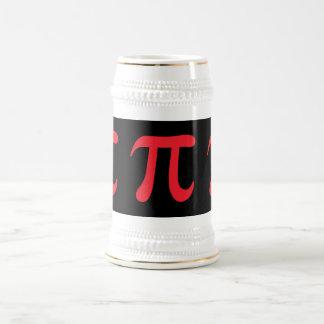 Símbolo rojo del pi en fondo negro jarra de cerveza