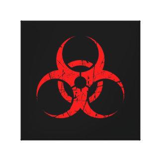 Símbolo rojo rasguñado del Biohazard en negro Lienzo Envuelto Para Galerías