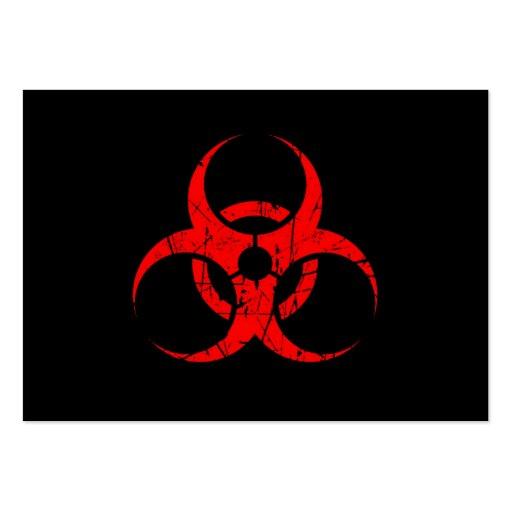 Símbolo rojo rasguñado del Biohazard en negro Tarjetas De Visita