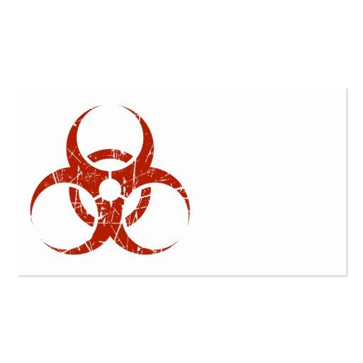 Símbolo rojo rasguñado del Biohazard Tarjetas De Visita