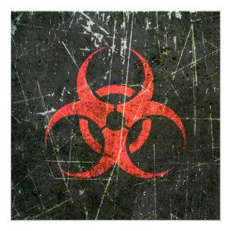 Símbolo rojo rasguñado y llevado del Biohazard Anuncios Personalizados