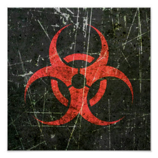 Símbolo rojo rasguñado y llevado del Biohazard Póster