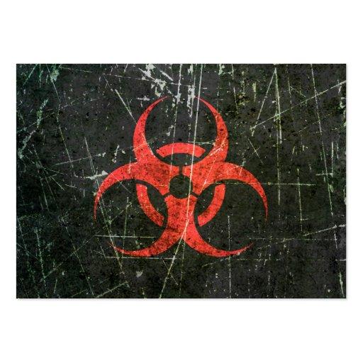 Símbolo rojo rasguñado y llevado del Biohazard Tarjetas De Visita