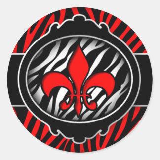 símbolo rojo travieso de la flor de lis de la cebr pegatinas
