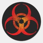 Símbolo rojo y amarillo apenado del Biohazard en Pegatinas Redondas