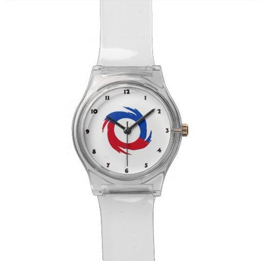 Símbolo rojo y azul reloj
