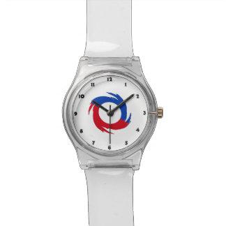 Símbolo rojo y azul relojes