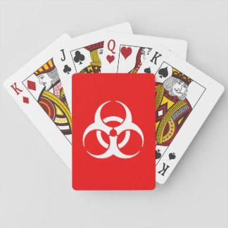 Símbolo rojo y blanco del Biohazard Baraja De Cartas