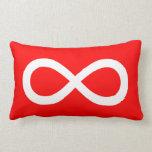 Símbolo rojo y blanco del infinito cojín lumbar