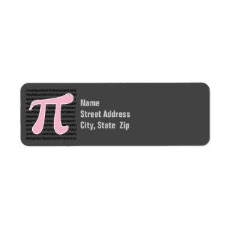 Símbolo rosa claro del pi etiquetas de remite