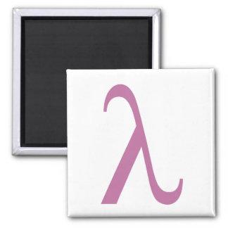 Símbolo rosado de LGBT Lamda Imán Cuadrado