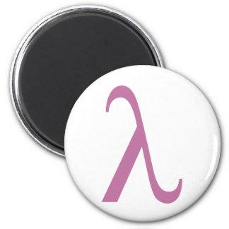 Símbolo rosado de LGBT Lamda Imán Redondo 5 Cm