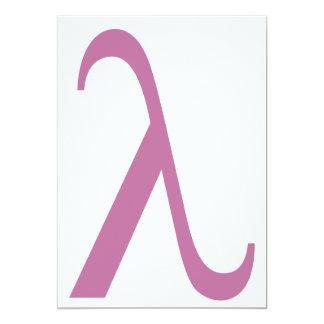 """Símbolo rosado de LGBT Lamda Invitación 5"""" X 7"""""""