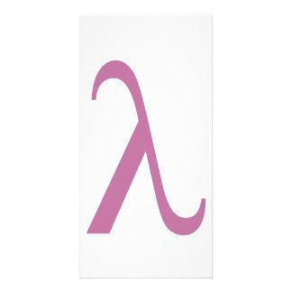 Símbolo rosado de LGBT Lamda Tarjeta Fotográfica Personalizada