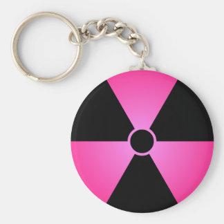 Símbolo rosado de Radiaton Llavero Redondo Tipo Pin