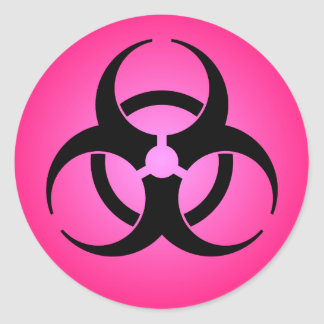 Símbolo rosado del Biohazard Pegatina Redonda