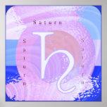 Símbolo rosado del zodiaco de SATURN Impresiones