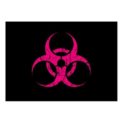 Símbolo rosado rasguñado del Biohazard en negro Tarjeta De Visita
