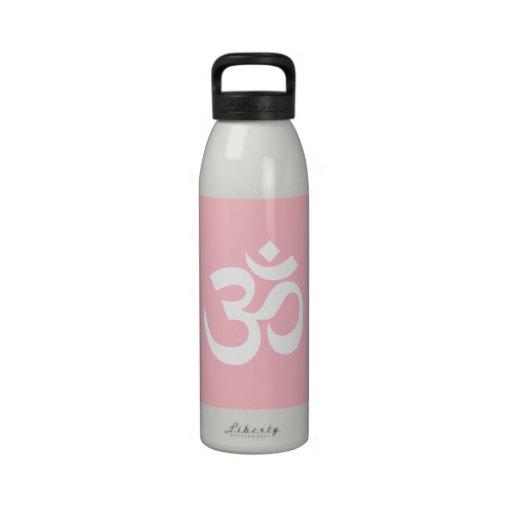 Símbolo rosado y blanco de OM Botellas De Agua Reutilizables