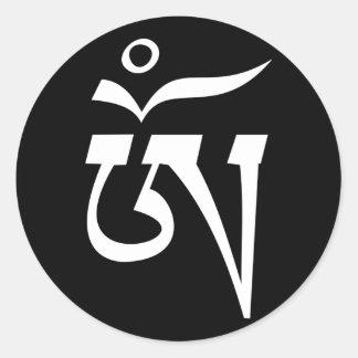 símbolo sagrado de OM del tibetano Etiqueta Redonda